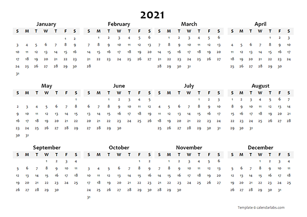 2021 Annual Blank Word Calendar Template