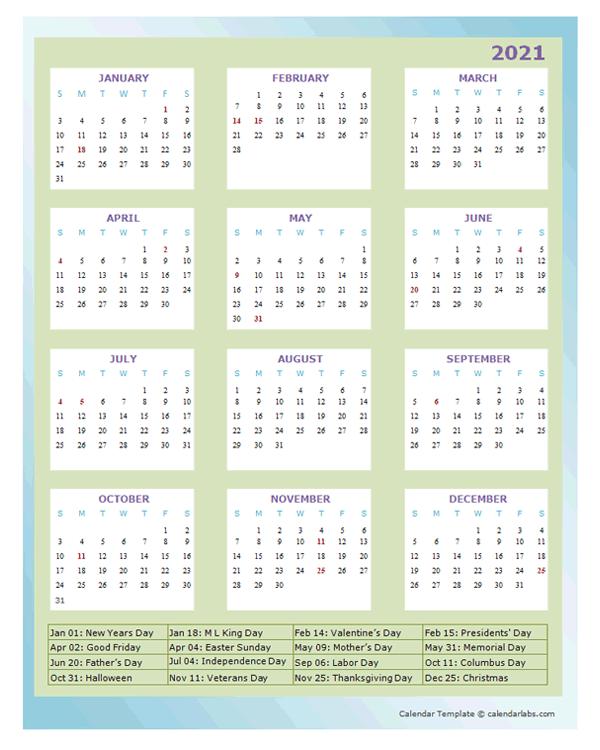 2021 Annual Calendar Design Template