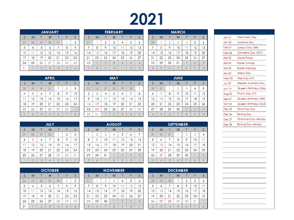 2021 Australia Annual Calendar with Holidays - Free ...