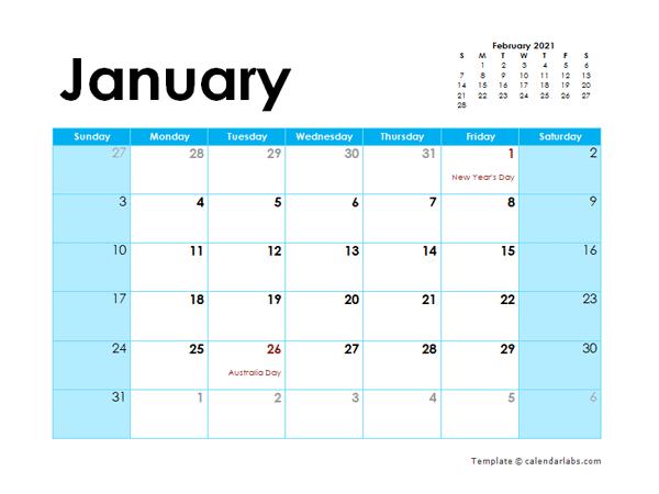 2021 Australia Monthly Calendar Colorful Design - Free ...