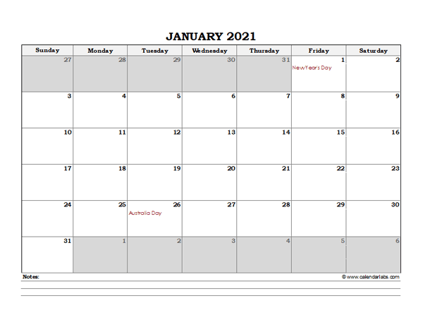 2021 Australia Monthly Calendar with Notes - Free ...