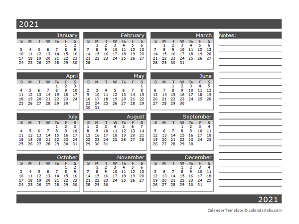 2021 Blank 12 Month Calendar in One Page
