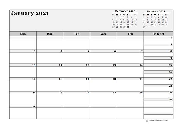 2021 Blank Three Month Calendar