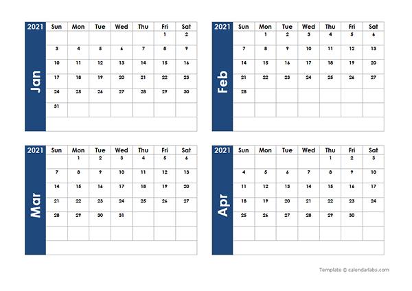 2021 Blank Four Month Calendar