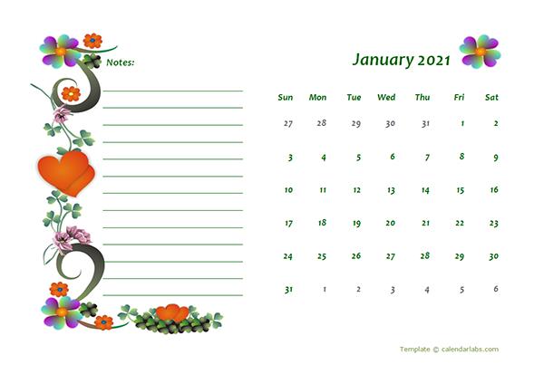 2021 Blank Calendar Design Template