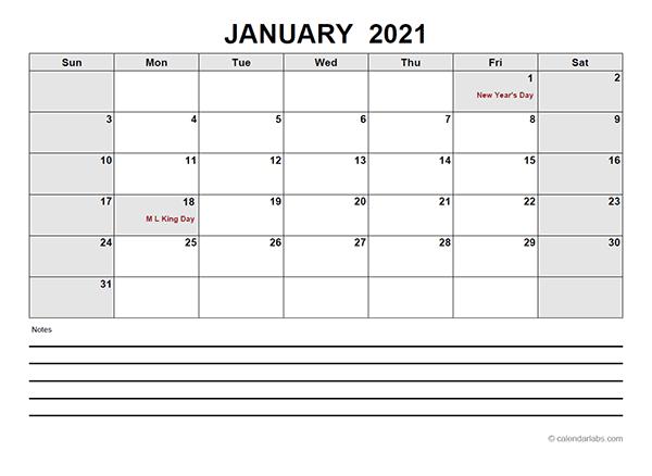 2021 Blank Calendar PDF