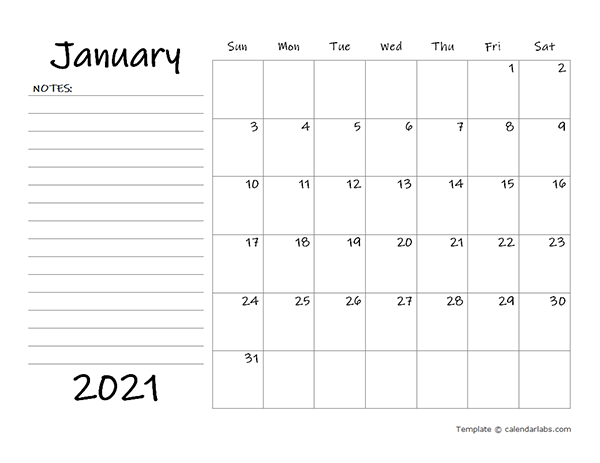 2021 Blank Calendar Template with Notes