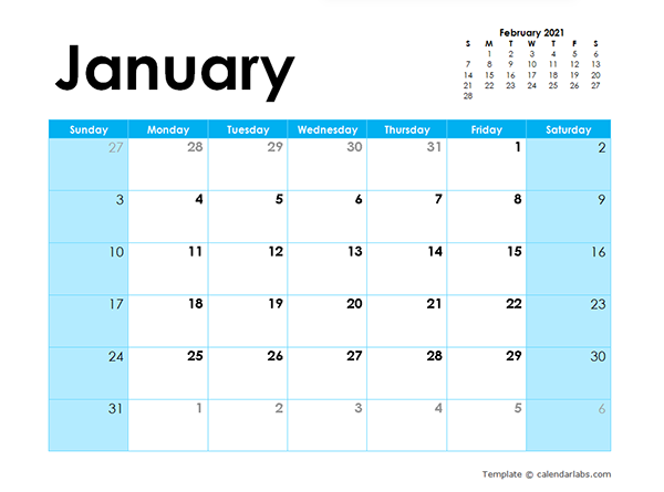 2021 Blank Calendar Colorful Design - Free Printable Templates