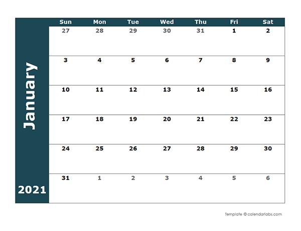 2021 Monthly Blank Calendar