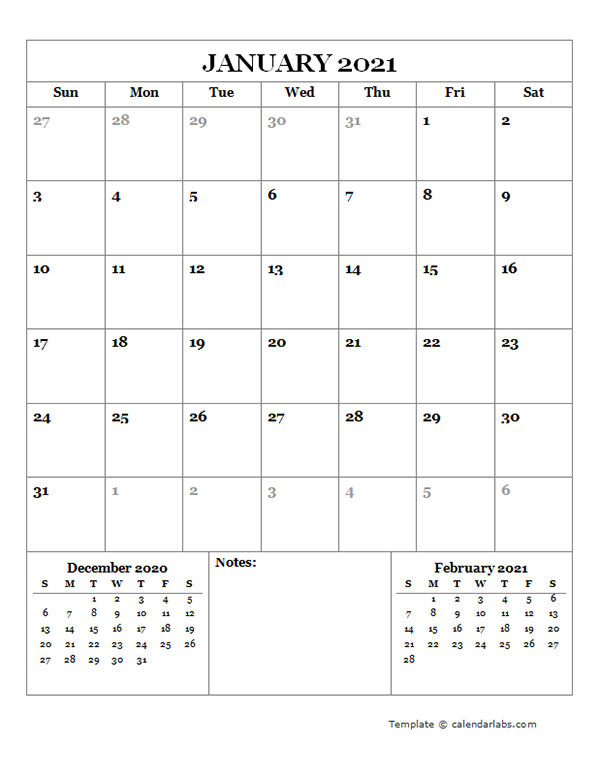 2021 Blank Monthly Planner