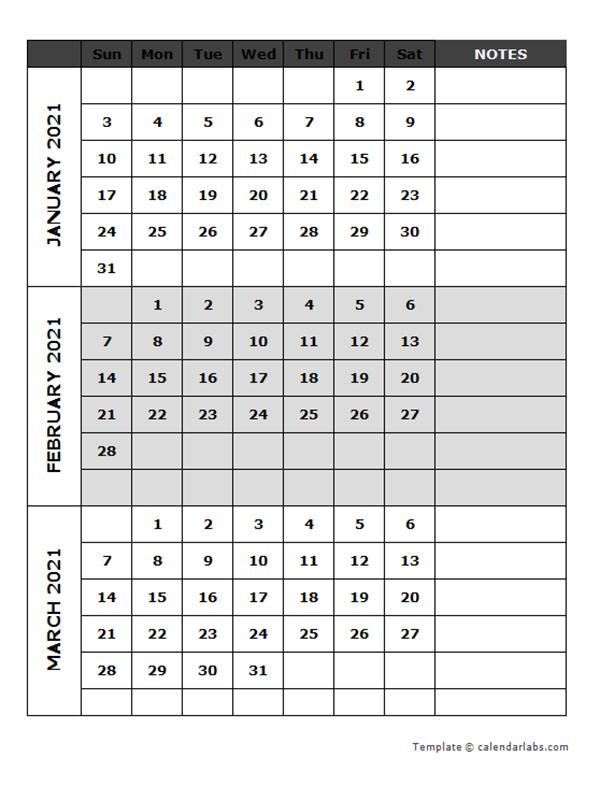 2021 Blank Quarterly Calendar
