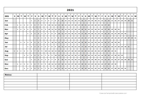 2021 Blank Landscape Yearly Calendar Template