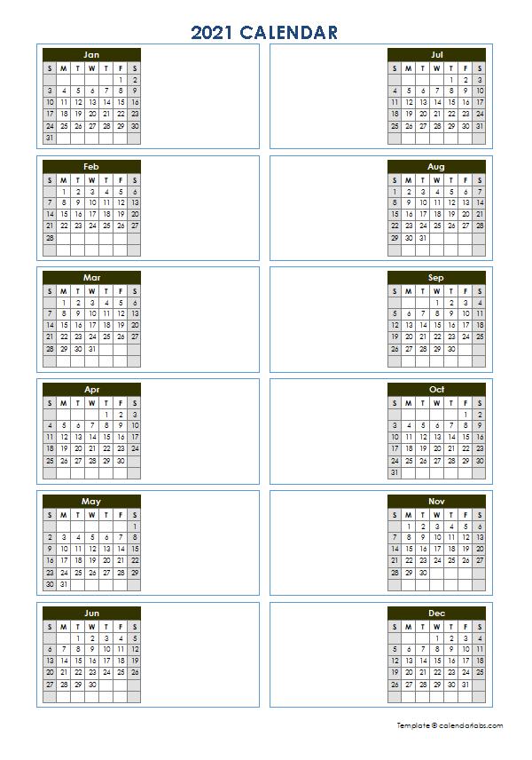 2021 Blank Yearly Calendar Template Vertical Design