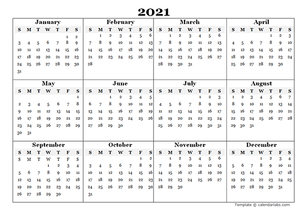 Pictures of Template For 2021 Calendar