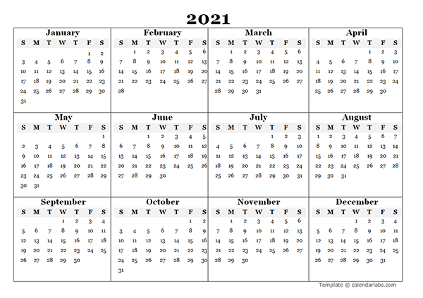 2021 Blank Yearly Word Calendar Template