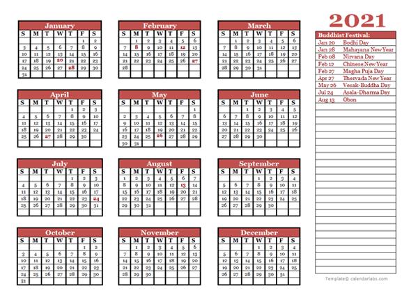 2021 Buddhist Festivals Calendar Template