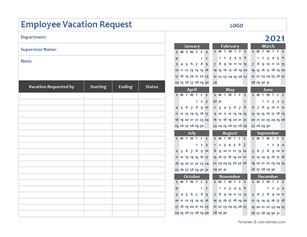 2021 Business Employee Vacation Request