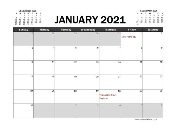 2021 Calendar Planner Malaysia Excel - Free Printable ...