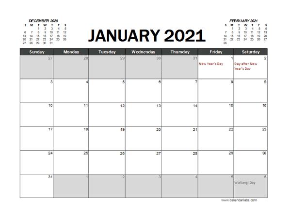 2021 Calendar Planner New Zealand Excel