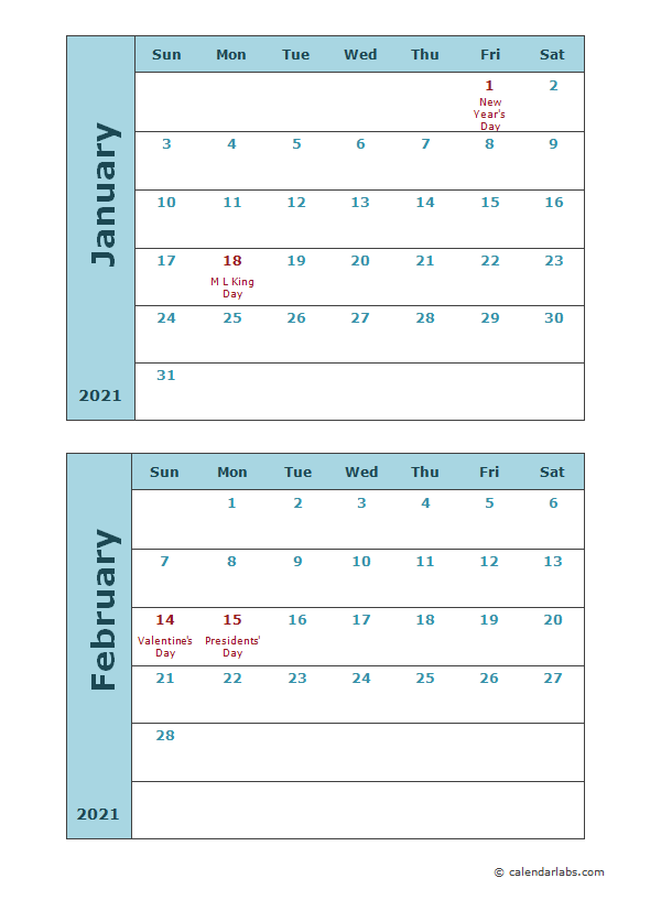 2021 calendar template two months per page