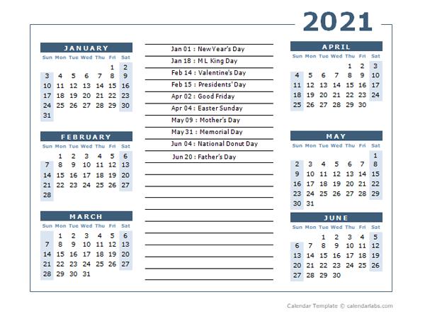 2021 Calendar Template 6 Months Per Page
