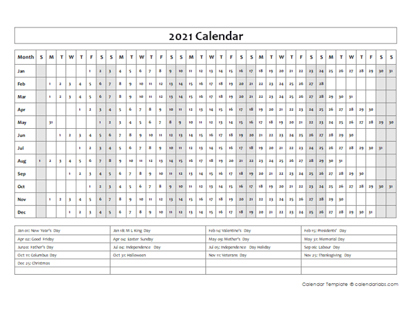 2021 Calendar Template Year at a Glance
