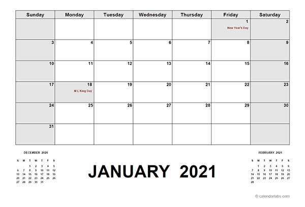 2021 Calendar With Holidays PDF