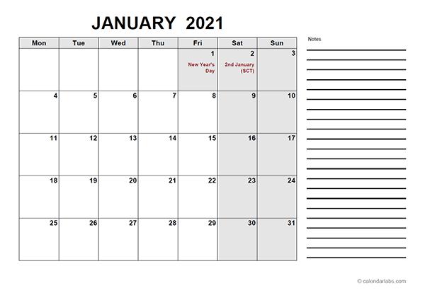 2021 Calendar with UK Holidays PDF