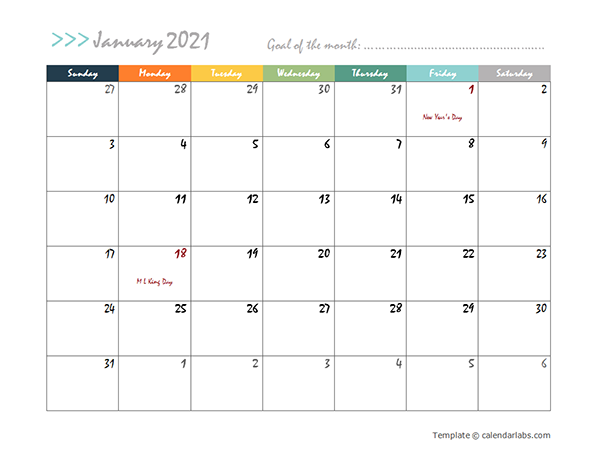 2021 Monthly Word Calendar in Colorful Design
