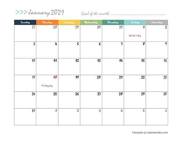 Microsoft Word Calendar 2021 Printable Calendar Monthly ...