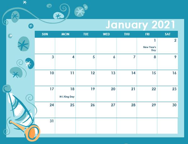 2021 Calendar Template in Colorful Design - Free Printable ...