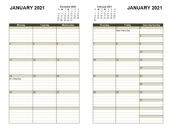 2021 Diary Planner Template