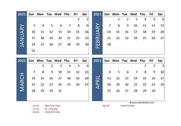 2021 Excel 4 Month Calendar Template