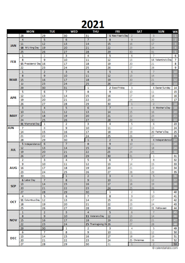 Free 2021 Excel Calendar for Project Planning