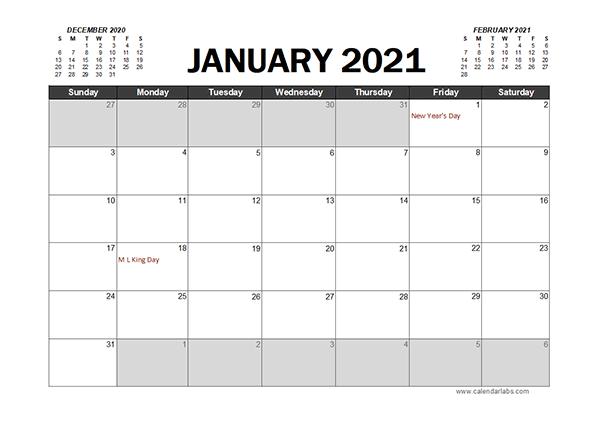 Monthly 2021 Excel Calendar Planner