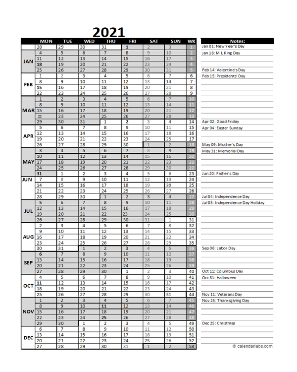 Free 2021 Excel Calendar for Project Management