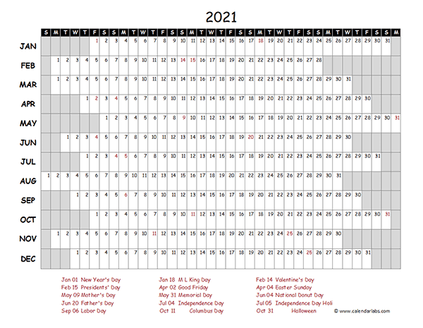 2021 Excel Calendar Project Timeline Free Printable Templates