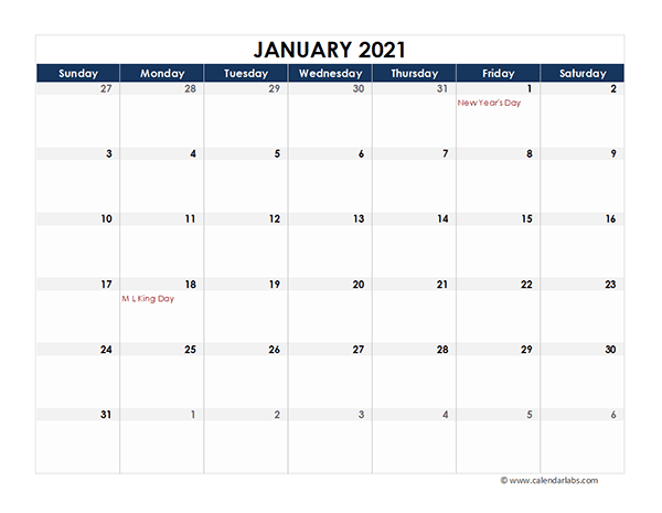 2021 Excel Calendar Spreadsheet Template