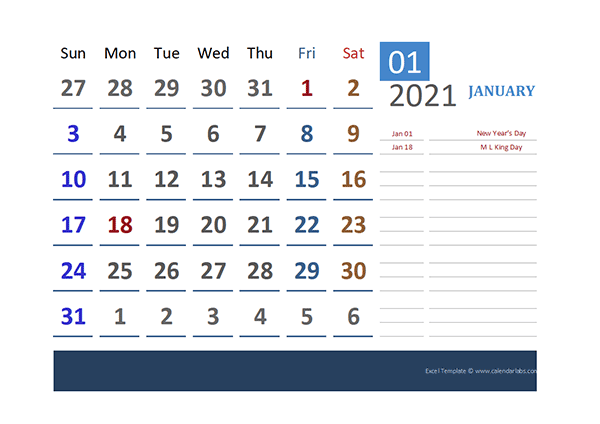 2021 Excel Calendar for Vacation Tracking