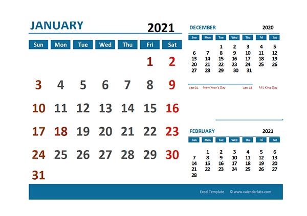 2021 Excel Calendar with Holidays