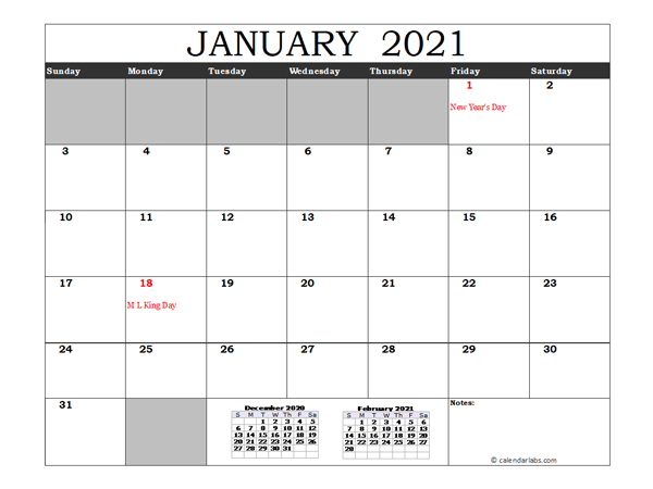 Free 2021 Excel Calendar with US Holidays