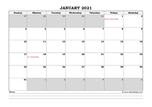 2021 Excel Monthly Calendar with Notes
