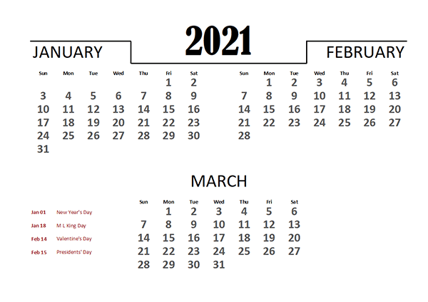 2021 Excel Quarterly Calendar Template