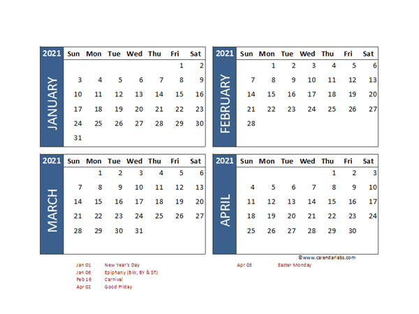 2021 Four Month Calendar with Germany Holidays - Free ...