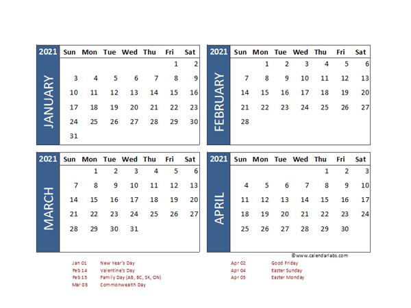2021 Four Month Calendar with Hong Kong Holidays