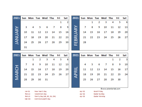 2021 Four Month Calendar with Pakistan Holidays