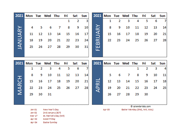 2021 Four Month Calendar with UK Holidays