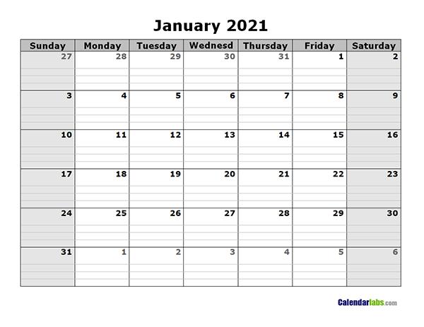 2021 Free Blank Calendar