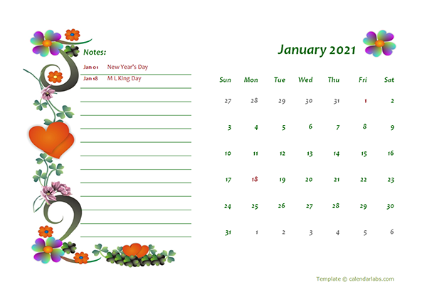 2021 Free Monthly Printable Calendar