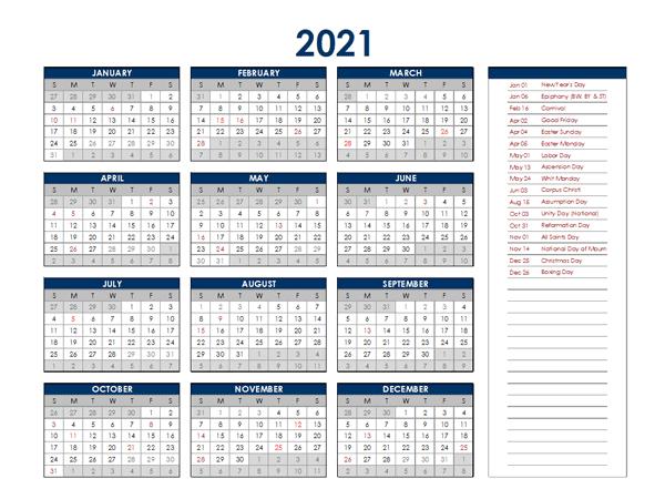 Calendar 2021 Deutschland